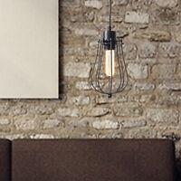 Industrial Vintage Metal Cage Hanging Ceiling Pendant Light Holder Lamp Black