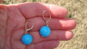 ZB 14K YELLOW GOLD DANGLING TURQUOISE BEAD LEVER BACK EARRINGS 8.3 GRAMS