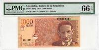 Colombia 2014 1000 Pesos PMG Certified Banknote UNC 66 EPQ Gem Pick 456q