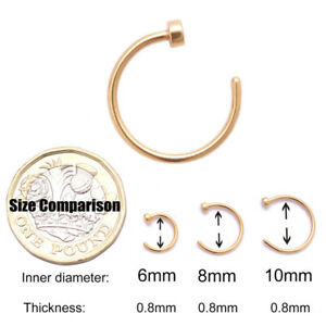 Nose Ring Fake Nose Rings Lip Rings Small Thin Body Piercing Surgical Steel Hoop