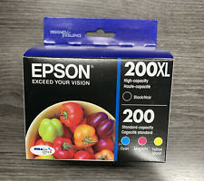 4-PACK Epson; 200XL Black (High Capacity) & 200 Color (Cyan, Magenta, Yellow)