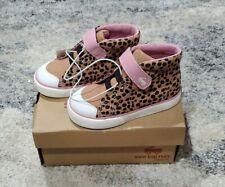 Toddler Girls Shoes Size 7 See Kai Run High Top Sneaker Brown Animal Dots NIB