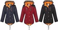 UNISEX Kids Boys Girls Fishtail Parka Jacket Coat Quilted Faux Fur Hood Zip Up