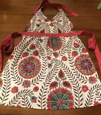 WORLD MARKET Awesome 100% Cotton Apron Turquoise, Red, Brown! MUST SEE EXCELLENT