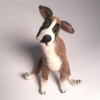 Needle Felted Boxer dog Animal Ooak -wool handmade felted dog gift one of a kind