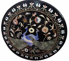 """30""""x30"""" Marble Coffee Table Rare Peacock Marquetry Mosaic Inlay Home Decor H1593"""