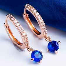 New Rose Gold Plated Round Hoop Earrings w/Dangling Sapphire Blue CZ & Accents