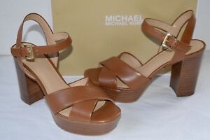 New $150 Michael Kors Divia Platform Brown Luggage Leather Block Heel Sandal