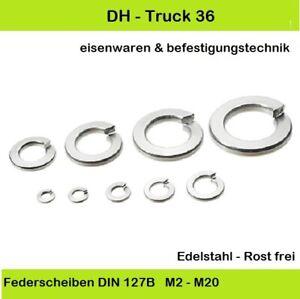 Federringe Edelstahl Federscheiben DIN 127 Form B A1 VA rostfrei M2 - M20