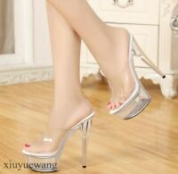 Womens Sexy Transparent High Heel Stiletto Open Toe Platform Slippers Shoes Size