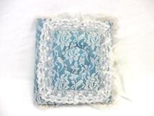 Vintage Lace Cloth Padded Wedding Photo Album Handmade Scrapbook Blue White Ties