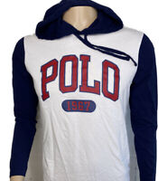 Polo Ralph Lauren T-Shirt Hooded Long Sleeve Graphic Spell Out White Blue Men S