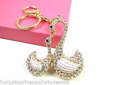 Large Swan With Baby Keyring Sparkling Rhinestone Diamante Handbag Buckle Charm