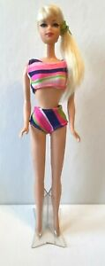 Vintage 1969 Barbie Talking Stacey Doll #1125 Platinum Orig Outfit Mute  * 3 DAY