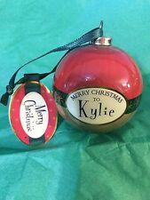 MERRY CHRISTMAS to KYLIE Paper Mache Ball Ornament STOCKING STUFFER Teacher