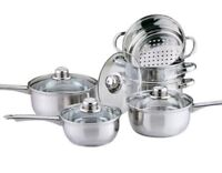 6PC STAINLESS STEEL COOKWARE STEAMER SET COOK SAUCE SAUCEPAN PAN POT KITCHEN