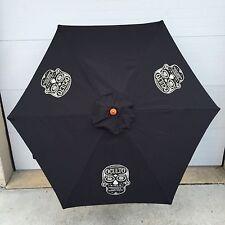 Oculto Skull Head 7' Umbrella Patio, Beach, Pool Tequila Barrel Staves NEW & F/S