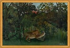 The Hungry Lion attacking a Antelope Henri Rousseau cazar animales león B a1 02248