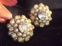 Vintage JUDY LEE Rhinestone & Seed Pearl GP Clip Earrings - Stunning