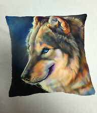 BROWN BLUE DOG PRINTED CUSHION COVER / PILLOWCASE 45X45CM | FREE POSTAGE