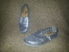 TOMS Dark Silver Gray Sequin Slip-On Shoes-Size 6