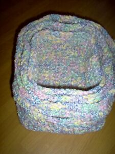 Hand crocheted pastel multicolor 3 stacking baskets, matching items listed
