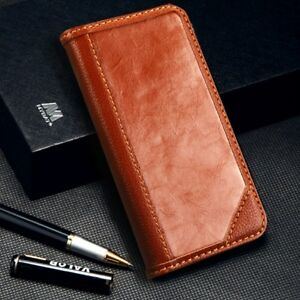 For Apple iPhone XS MAX Genuine Real Leather Flip Wallet Stand Case Cover Brown