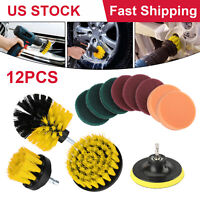 12pcs Power Scrubber Drill Brushes Car Cleaning Kit Tile Grout Spin Tub Cleaner