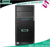 SERVIDOR HP ENTERPRISE MICROSERVER ML30 GEN9 E3-1220V6 1P 3,0GHZ 8GB DDR4 B140I