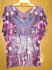Lovely Stretchy Fold Dyed Top Lacey Butterfly Insets Flutter Slvs 1X 2X NWT