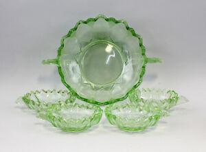 99835053 Hellgrüne Glas Dessertgarnitur Art déco um 1930