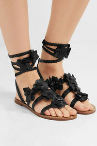 NIB Authentic TORY BURCH Blossom Gladiator Leather Sandal in Black Size 8 $295