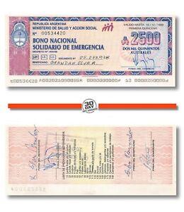 Argentina 2500 Australes 1989 Xf P6185, Emergencia, Banknote, Bono Nacional