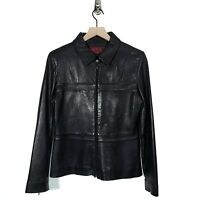Venus Williams Wilsons Leather Womens Black Leather Jacket Coat Zip Size S Small