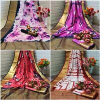 Banarasi Sari Blouse Indian Traditional Silk Saree Designer Wedding Ethnic Wear