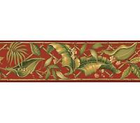 Wallpaper Border Green Palm Leaves with Bamboo Trellis on Red