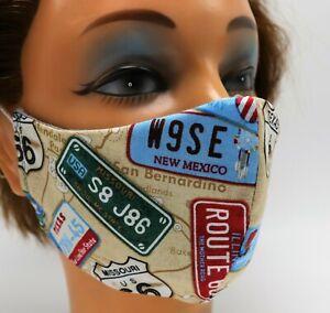 Men's Face Mask - Road Sign Print - Double Layer Cotton - Reusable - Travel