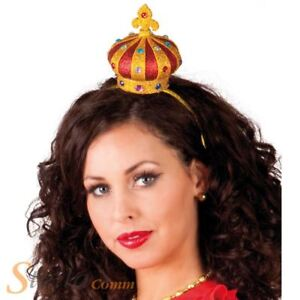 Ladies Crown Headband Queen Hearts Regal Medieval Royal Fancy Dress Accessory