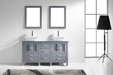 "Virtu 60"" Bradford Md-4305 Modern Double Vanity In Grey With Mirrors"