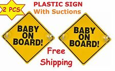 2 Yellow Reflective Baby On Board SAFETY Car Window Suction Cup 6x6 Warning Sign