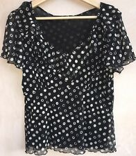 M&S Ladies Black With White Spots Blouse Top Size 14<NH3099