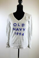 Old Navy Gray V Neck Long Sleeves Metalic Stripes Womens Top Size M