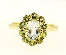 9Carat Yellow Gold Aquamarine & Peridot Cluster Ring (Size Q 1/2) 12x14mm