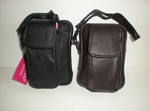 LEATHER ZIP TOP POUCH WITH PHONE HOLDER BELT LOOP AND DETACHABLE STRAP 31560