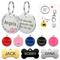 Round Bone Shape Personalized Dog ID Tag Engraved Free Custom Name for Pet Cat