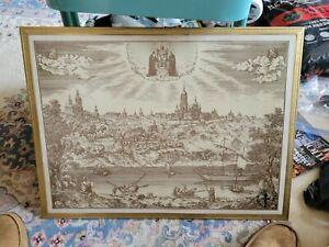 Framed lithograph of old Kievo Pecherska Lavra monastery Киево Печерская Лавра