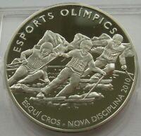 Andorra Silver 10 Dinars 2008 Vancouver Olympics Ski Cross Proof Coin
