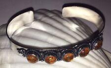 Ethnic Indian Silver Pl Copper Adjustable Orange Quartz Stone Bracelet Bangle