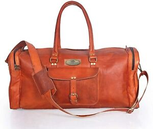 Mens Genuine Leather Easy To Carry Vintage Duffel Travel Weekend Overnight Bag