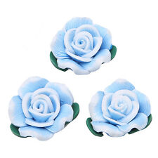 30 Blue New FIMO Clay Rose Charms Beads FREE P&P 111475